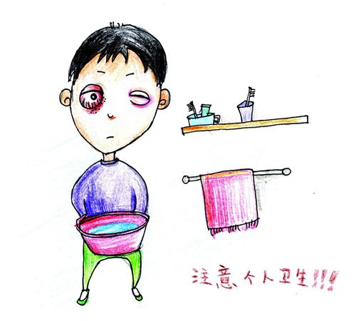 饭前,便后要及时洗手,日常要教育孩子不要用脏手揉眼睛.